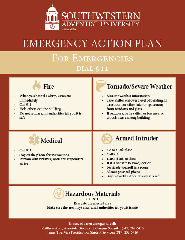 A poster showing Southwestern Adventist University's Emergency Action Plan for fire, medical, armed intruder, tornado/severe weather and hazardous materials