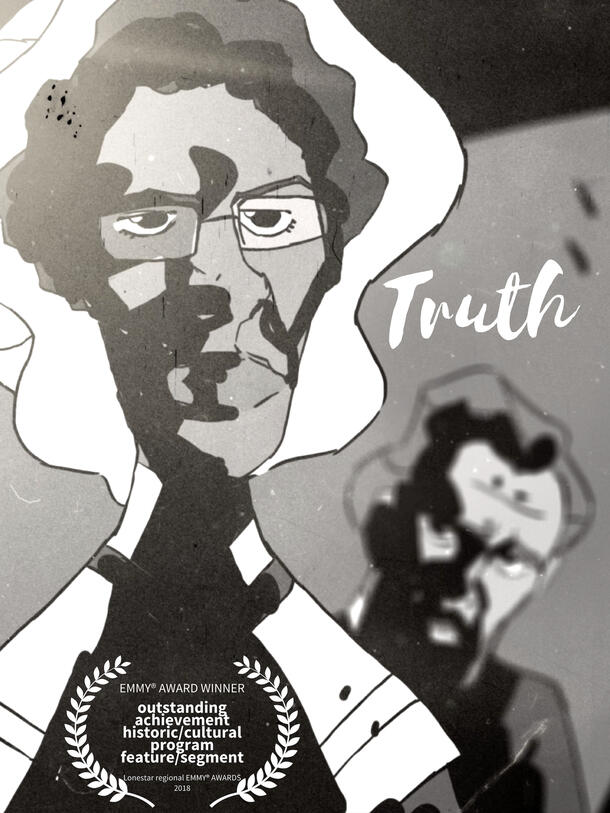 """A poster for """"Truth"""", showcasing a sketched woman with a stern look beneath her glasses, and an angry man in the background"""