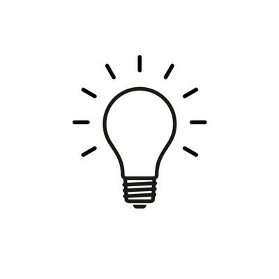 A drawn outline of a lightbulb and lines around it to indicate it being turned on