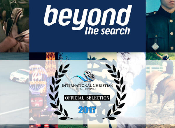 """A poster with 14 different parts of photos with a portion in the middle that reads """"beyond the search"""""""