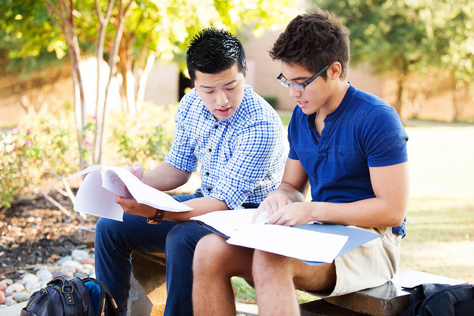 Two students sit on a bench as they look over, and explain their class notes to each other