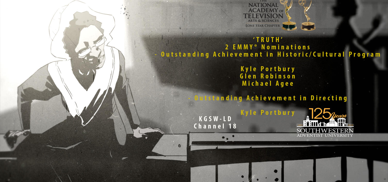 """A black and white poster with yellow words stating that a program called """"Truth"""" has 2 Emmy Nominations"""